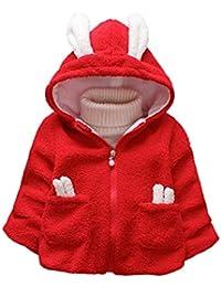 Hawkimin Baby Mädchen Jungen Cartoon Kaninchen Lange Ohr Einfarbig warme Jacke mit Kapuze Mantel Tops