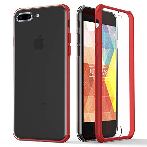 Urcover® 360 Grad rundum Schutzhülle kompatibel mit Apple iPhone 7 Plus / 8 Plus I berühmt aus Galileo I Quattro Edition I Rot
