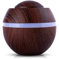 STRIR 500ml Humidificador Aromaterapia Ultrasónico, Difusor de Aceites Esenciales, 7-Color LED,Seguro y Elegante, purificar el aire y mejorara el aire seco (Grano de madera profunda)