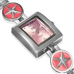 Fashion Alloy Silver-Tone Pink Square Dial Womens Bracelet Watch