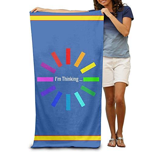 Strandtuch mit Vintage-Motiv I'm Thinking Rainbow Nerd für Erwachsene, Baumwolle, 79 x 137 cm - Bid-tag-taschen