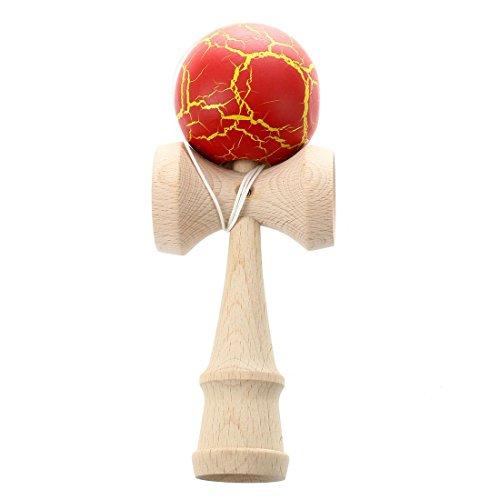 SODIAL Bola Kendama de pintura de grietas Bola de juego de malabarismo experto Bolas del juguete tradicional japones Juguetes educativos para ninos-rojo
