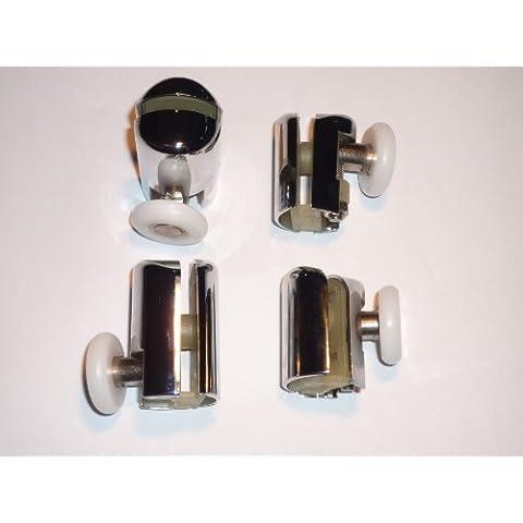 Set di 4 ruote da doccia placcato in cromo, 2 pezzi, per parte superiore e inferiore Am 03-4 2