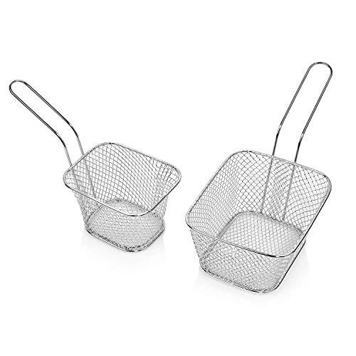 6 Teilig Frittierkörbchen Set aus Edelstahl Perfekt geeignet zum Frittieren sowie Servieren von...