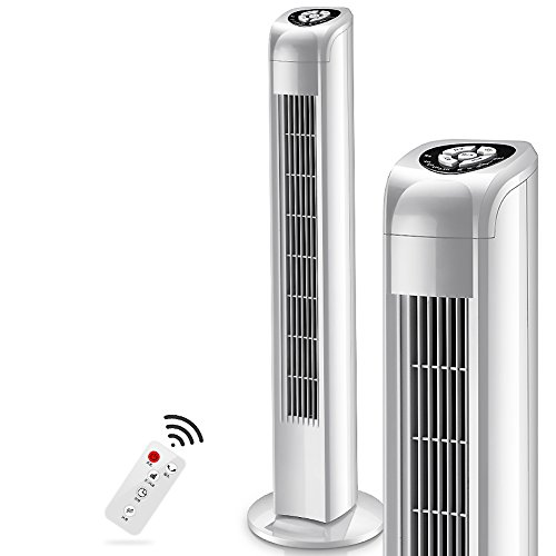 Air conditioner fan Tower fan, 3 speed Electric air cooler Quiet Timing Stand fan For office Bedroom Household-White
