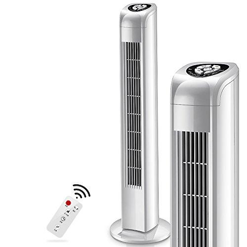 SANDM Climatiseur Mobile Ventilateur Tour, 3 Vitesses Refroidisseur d'air électrique Silencieux Chronométrage Ventilateur de Stand pour Le Bureau Chambre Ménage-Blanc