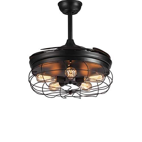Hansgr Araña de luz, lámpara de Ventilador LED de Techo, Control Remoto Industrial + Control de Pared...