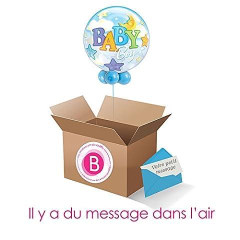 Ballon Bubble Bienvenu Bébé Boy , Envoyez ou recevez un ballon gonflé à l'helium Où Vous Voulez.