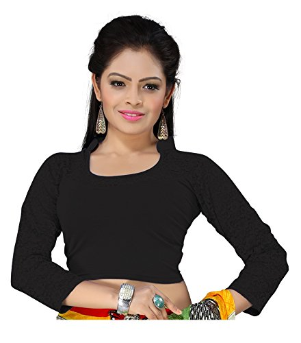 Cotton Lycra With Net 4way Stretchable fancy designer Readymade Blouse (Black)