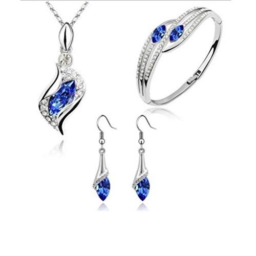 Voberry Mode Stil Schmuck Set Crystal Chic Augentropfen Ohrringe Halskette Armband (A) (Rock Crystal Damen-t-shirt)