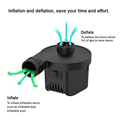KERUITA Air Pump, Air Mattress Pump for Inflatable Blow up Pool Raft Bed Boat Toy Exercise Ball, 110V AC/12V DC Quick-Fill AC/DC Inflator&Deflator with 3 Nozzles (ACDC) 8