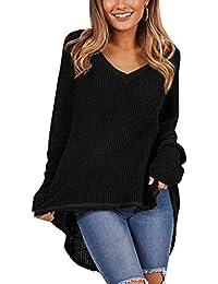 013a94b3fdb2ef Kenoce Damen V Ausschnitt Sweater Casual Pullover Langarm Asymmetrisch  Oberteile Stricken Sweatshirt Tops