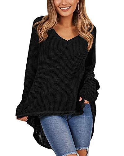 Kenoce Damen Casual V-Ausschnitt Sweater Langarm Asymmetrisch Oberteile Lose Schulterfrei Pullover Schwarz EU 38/Etikettgröße M