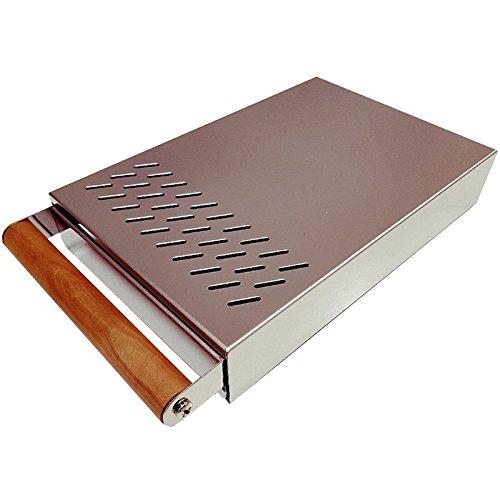 AlTaGru Sudschublade Profiline S grösse 20 x 30 x 5,5 cm (Tiefe mit Griff 34,5 cm)Edelstahl poliert der Abklopstab ist austauschbar mit edlem Holzgriff- für Mühlen wie zb. ECM / Ascaso / Rancilio / Rocket Abschlagschublade Knockbox Sudschublade