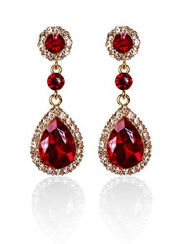 Autiga® Ohrringe Zirkonia Strass Tropfen Tränen Form Braut Hochzeit Brautschmuck silber-/ gold-farben gold-rot
