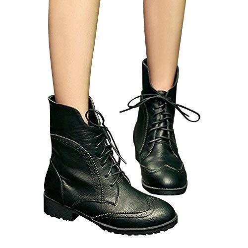 TianWlio Boots Stiefel Schuhe Stiefeletten Frauen Herbst Winter Runde Zehen Leder Schuhe Flache Booties Schnürstiefel Freizeit Schuhe Weihnachten Schwarz 41