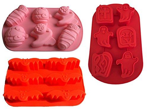 Lot de 3formes en silicone Citrouille Halloween chat Monster Esprit Moule Chocolat Moule à cup cake Biscuit Gâteau bricolage pâtisserie Décorer hantée fantômes formes Moule à glaçons de Royal House marchandises
