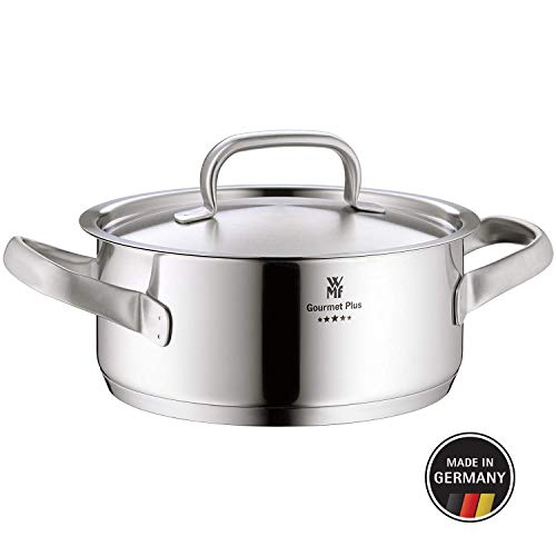 WMF Gourmet Plus Kochtopf mit Metalldeckel 16 cm, Bratentopf 1,4l, Cromargan Edelstahl mattiert, Innenskalierung, Dampföffnung, induktionsgeeignet