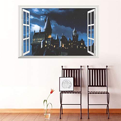 411hIRGnzeL - 3d ventana castillo etiqueta de la pared decal harry potter pvc tatuajes de pared cartel mural arte decoración para el hogar