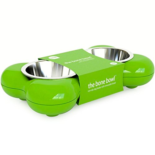Hundenapf aus Edelstahl in Knochenform - mit zwei herausnehmbaren Schüsseln, grün