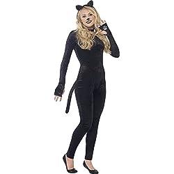 Smiffy's - Disfraz de gato de terciopelo, adultos, color negro (44320XS)