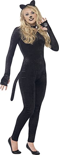 Smiffy's 44320S - Katzen-Kostüm mit Jumpsuit Schwanz Katze-Ohr-Stirnband und (Ideen Jumpsuit Kostüm)