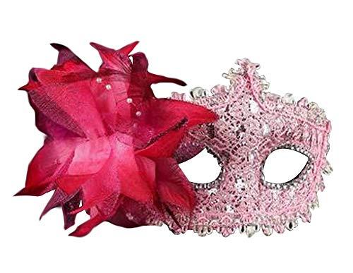 Venitien Masque Kostüm - Hübsche Maskerade Maske Venezianische Augenmaske mit Blume, Rosa