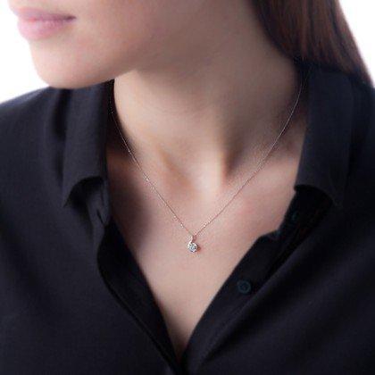 HISTOIRE DOR Collier Or Blanc Vrille Et Diamants Cm Femme Or - Pendentif porte photo histoire d or