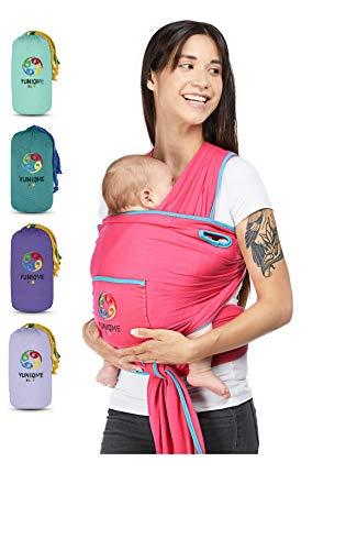 YUNIQME® Tragetuch fürs Baby NEU! - Elastisches Babytragetuch aus 100{9dc4c49a7b53328f6ef87bccdda83b7d47b61e91241f565001a940a6c92737d7} Baumwolle - GOTS - Babysling für Neugeborene - Bauch Babytrage I Baby Zubehör - OEKO TEX  - Farbkombination Tuch Beere
