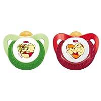 NUK 10171047 Latex Beruhigungssauger (Schnuller) Disney Winnie Trendline mit Ring, Größe 1 (0-6 Monate), BPA-frei, 2 Stück, grün/rot