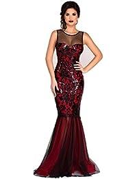 Nuevas señoras rojo y negro con lentejuelas de sirena vestido de noche vestido largo crucero Prom