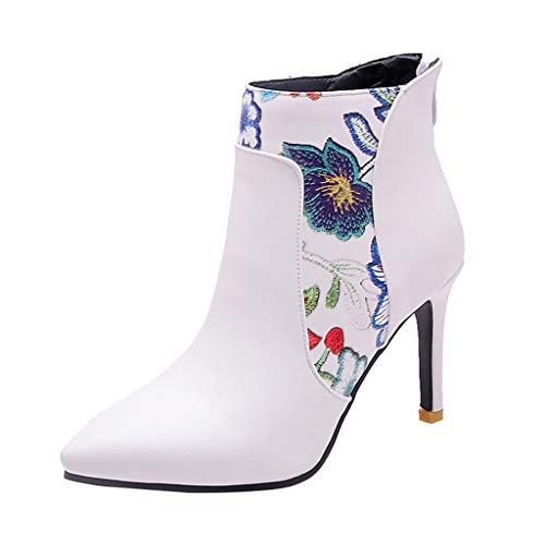 Geilisungren Stiefeletten Damen Kurzschaft Blumen Druck Lederstiefel Spitz Ankle Boots mit Pfennigabsatz Frauen Elegante Hoher Absatz Party Boots Übergrößen Reißverschluss Abend Stöckelschuhe (Boots Ankle Damen 9 Größe Flache)