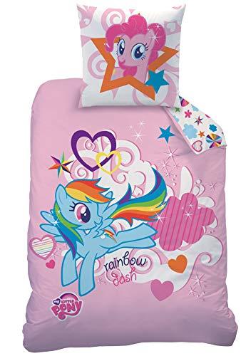 Familando Wende Bettwäsche-Set My Little Pony, 135x200 cm 80x80 cm, 100% Baumwolle, Linon, rosa Einhörner Regenbogen CTI