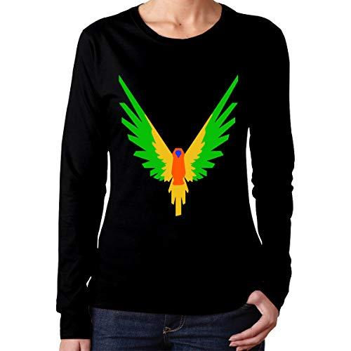 Johnson hop Parrot Logo Logan Paul Logang Damen Damen Langarm T-Shirt Sport T-Shirt Lässig(XL,Schwarz) -