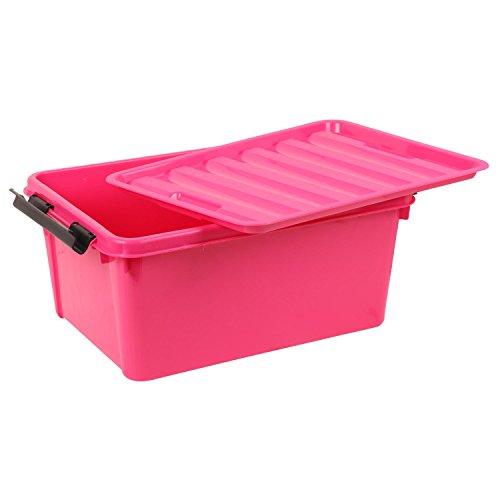 BUCKLE UP 20 Litre Plastic Multipurpose Storage Box with Lid - Pink