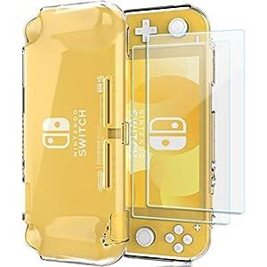 ProCase Schutzhülle + (2 Stück) Panzerglas für Nintendo Switch Lite 2019, Weich dünn TPU Stoßfest Klar Hülle + 2 Hartglas Blasenfrei Displayschutzfolien aus gehärtetem Glas