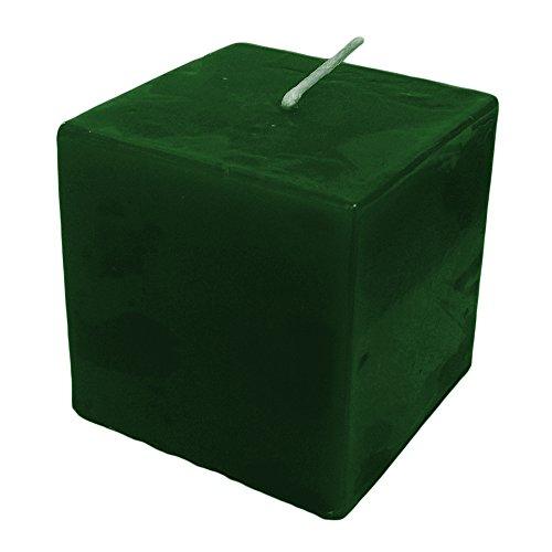 Apple & Cannella profumata candela cubo quadrato, Verde Tinta Unita 7x 7cm 30ore Profumo di Natale verde pilastro