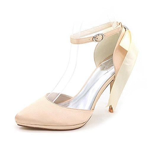 L YC Chaussures De Mariage Des Femmes Satin / Talons Hauts / Printemps éTé automne Dentelle Mariage & 0255-28 Soir , blue , 39