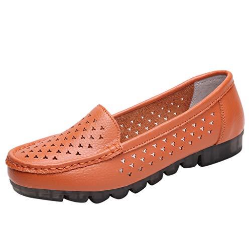 LILIGOD Freizeitschuhe Damen Sommer Frauen Flache Einzelne Schuhe Bootsschuhe Mode Bequem Müßiggänger Runde Zehe Slip-On rutschfeste Schuhe Solide Flacher Mund Beiläufig Schuhe