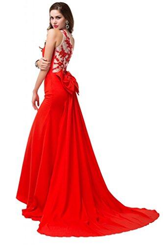 Sunvary formale Una spalla su Chiffon Sheer abiti retro basso, con fiocco Red