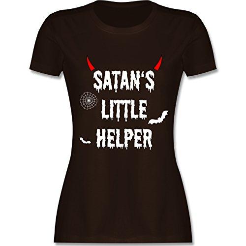 hsene - Satan's Little Helper - Halloween - Teufel - Hörner - Fledermaus - M - Braun - L191 - - Tailliertes Premium Frauen Damen T-Shirt mit Rundhalsausschnitt (Halloween-t-shirts Für Erwachsene)