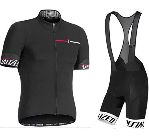 AQWWHY Radfahren Jersey Anzug Männer Kurzarm Fahrradbekleidung Set Sommer + Atmungsaktiv Gepolsterte Trägerhose