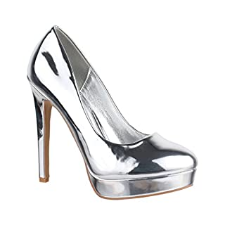 Elara Damen Plateau Pumps | High Heels Lackoptik | Vintage Schuhe | Chunkyrayan C-2 Silver-40