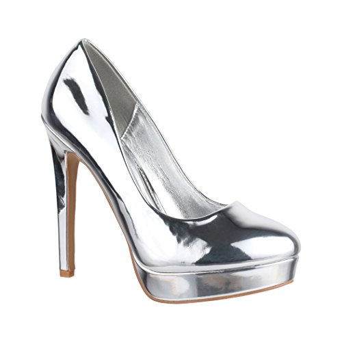 Elara Damen Plateau Pumps | High Heels Lackoptik | Vintage Schuhe | Chunkyrayan C-2 Silver-37
