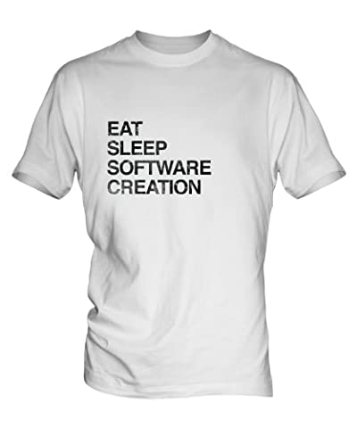 Eat Sleep Software Creation Mens White T-Shirt Top, Size Small, Colour White