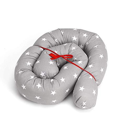 Cojín para Cuna 150cm Bebé Parachoques Rollo Antialérgico Algodón Vivero Serpiente Lumbar Nido Protector Rollo de cama (Gris con estrellas blancas, 150 cm)