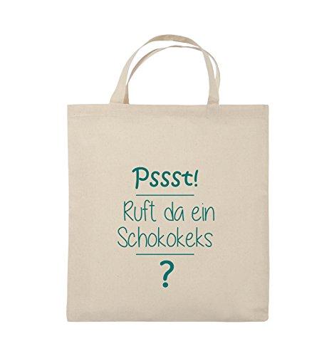 Comedy Bags - Pssst! Ruft da ein Schokokeks? - Jutebeutel - kurze Henkel - 38x42cm - Farbe: Schwarz / Silber Natural / Türkis