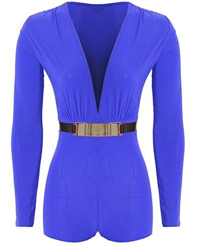 Womens Gold Belted Plunge Neck Long Sleeve Playsuit Dress Jumpsuit Dress 12-14 Royal Blue