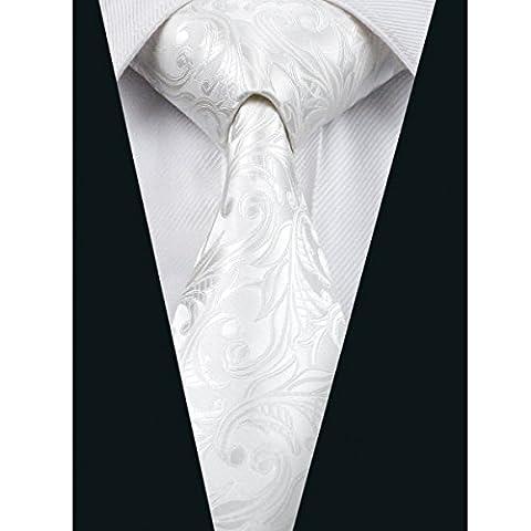 CAOFENVOO Men's Silk Formal White Paisley Necktie