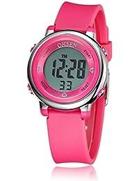 Pixnor OHSEN Mujeres Niños niña multifunción impermeable Luz de fondo pantalla cuarzo reloj deportivo rosa rosa